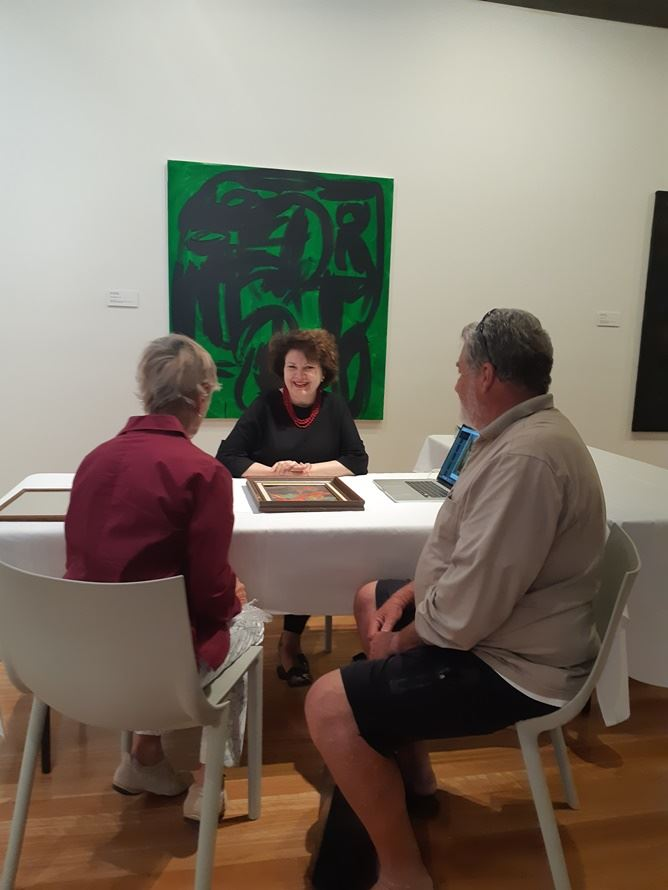 Annette Larkin with clients at Art Appraisal Day November 2018