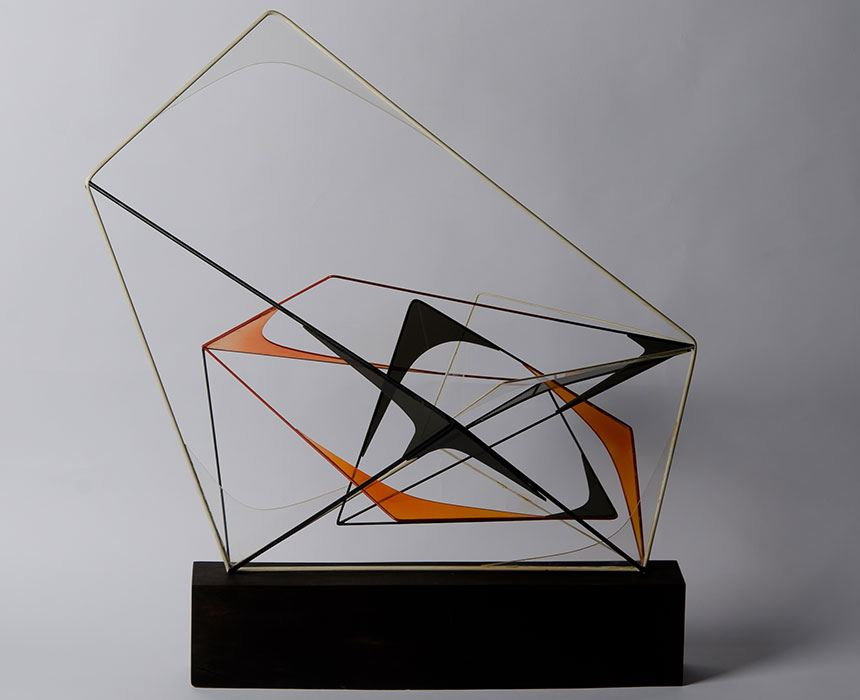 Margel HINDER 'Wire and Perspex' c. 1955 painted wire, clear and coloured Perspex on wood base 83.0 x 77.0 x 56.0cm Purchased 1974 Newcastle Art Gallery collection Courtesy Enid Hawkins daughter of the artist