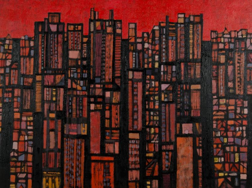 Michael SHANNON 'The city no 3' 1962 oil on canvas 90.1 x 121.3 cm Purchased 1962 Newcastle Art Gallery collection