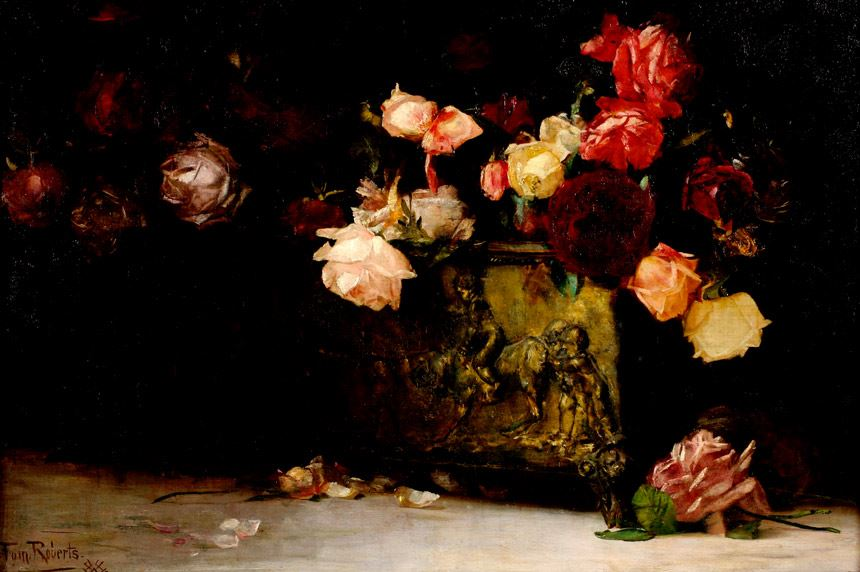 Tom ROBERTS 'Roses' 1888 oil on canvas on plywood 51.4 x 76.9cm gift of Mr. J.O. Manton 1972 Newcastle Art Gallery collection