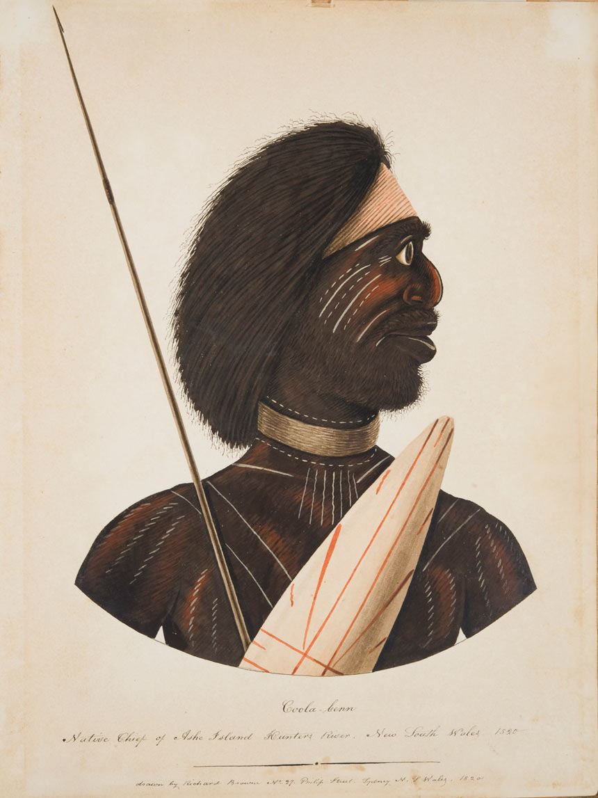 Richard BROWNE 'Coola-benn, Native Chief of Ashe Island Hunters River, New South WaleS' 1820 watercolour and bodycolour on paper, 47.0 x 36.0 cm Purchased with assistance from Robert and Lindy Henderson, Newcastle Art Gallery Society, Newcastle Art Gallery Foundation and the community 2010 Newcastle Art Gallery collection