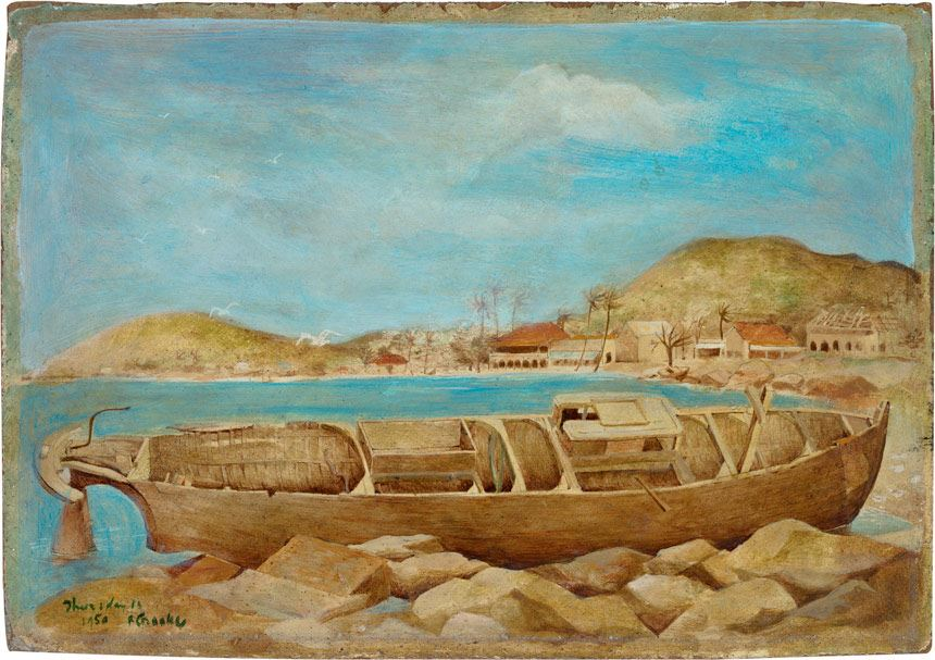 Ray CROOKE ''Kingfisher', Thursday Island' 1950 egg tempera and oil on composition board 25.0 x 35.6cm National Gallery of Australia collection