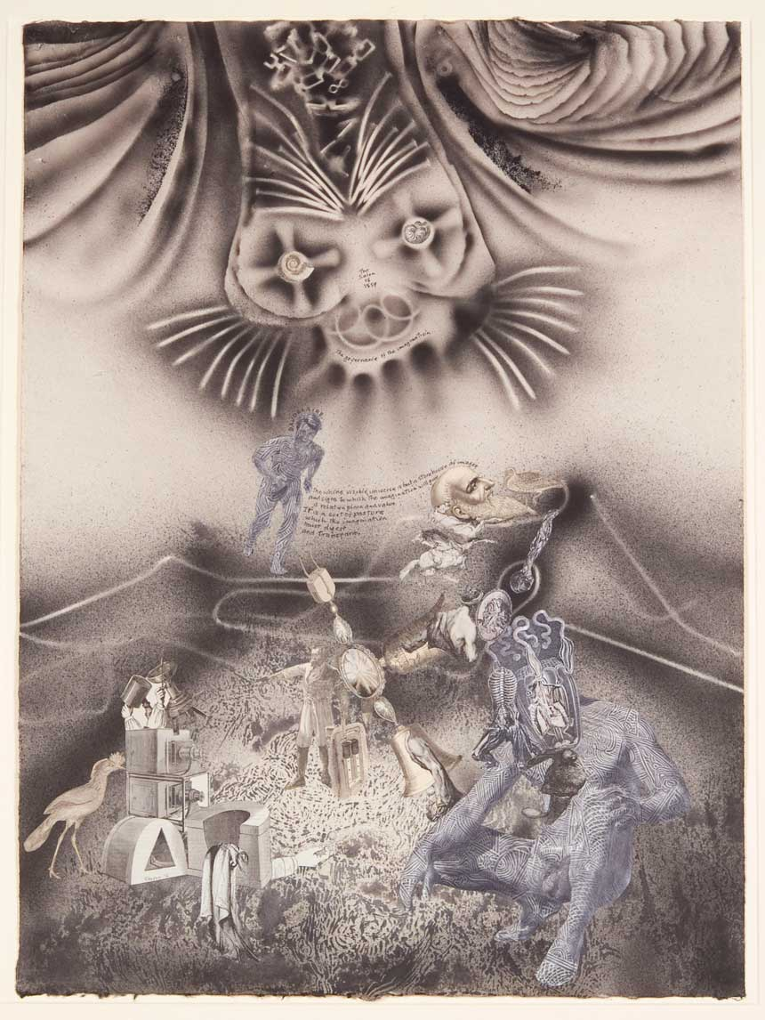 James GLEESON 'Baudelaire: The salon of 1895 – The governance of the imagination' 1976 ink wash, pen and ink, collage and pencil on paper, 70.1 x 51.4 cm Gift of Horace Saducas through the Australian Government's Taxation Incentives for the Arts Scheme 1995 Newcastle Art Gallery collection