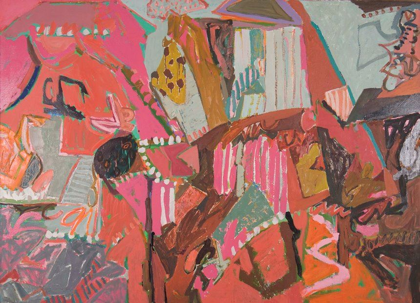 Elisabeth CUMMINGS, <i>Pandava IV</i> 1978 oil and enamel on canvas 139.0 x 191.0cm Gift of the artist through the Australian Government's Cultural Gifts Program 2011 Newcastle Art Gallery collection Courtesy the artist