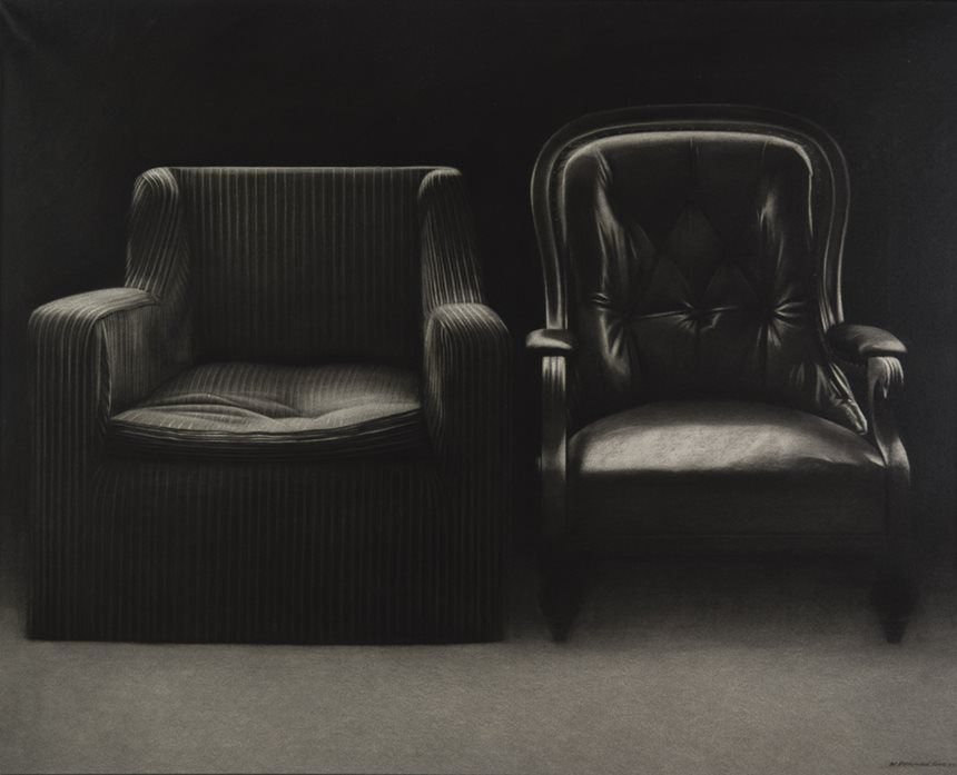 William Delafield COOK, <i>Two chairs</i> 1972, conte crayon and ink on paper, 106.1 x 131.2cm, Newcastle Art Gallery collection, Courtesy the artist's estate