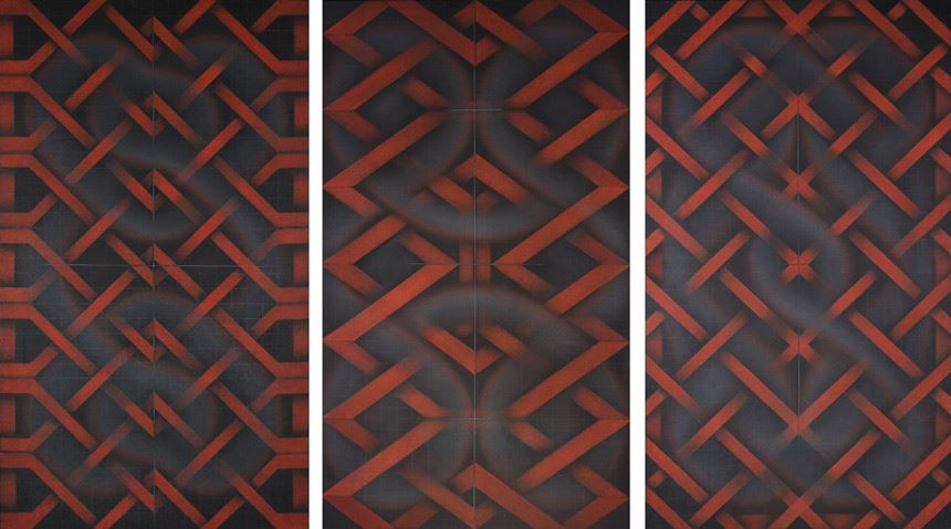 Marion BORGELT 'Weaving the labyrinth: Design I, Design II, Design III' (1997-99) oil on canvas Gift of the artist through the Australian Government's Cultural Gifts Program 2002 Newcastle Art Gallery collection