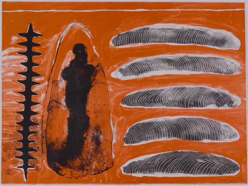 Judy WATSON 'Red Rock' 1998 from Crossroads: Millennium Portfolio of Australian Aboriginal Artists 1998 1998 Brisbane lithograph, printed in colour on paper Gifted through the Australian Government's Cultural Gifts Program Newcastle Art Gallery collection