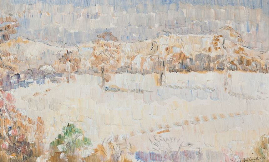 Grace COSSINGTON SMITH 'Snow in May' 1950 oil on board 17.5 x 28.6cm Gift of the Newcastle Art Gallery Society 2010 Newcastle Art Gallery collection Courtesy the Estate of the late Grace Cossington Smith