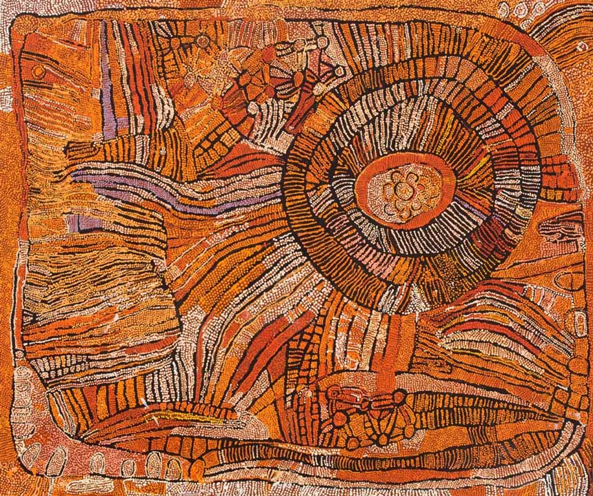 Naata Nungurrayi 'Untitled' 2007 152.5 x 182.5 cm Gift of Lesley Lynn in memory of her sister Margaret through the Art Gallery of South Australia Foundation 2009