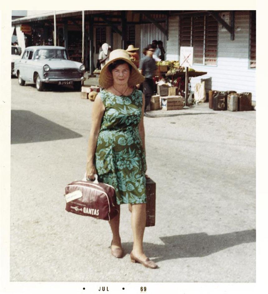 Margaret Olley arriving in Port Swettenham, Kuala Lumpur, Maylasia 1969 (Photograph supplied courtesy of Mrs Wilma Knight)