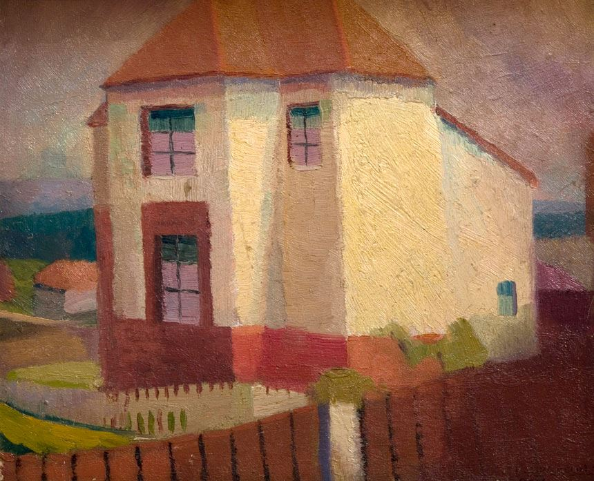 Roland WAKELIN 'The white house' 1918 oil on pulpboard image 25.1 x 27.8cm purchased 1966 Newcastle Art Gallery collection