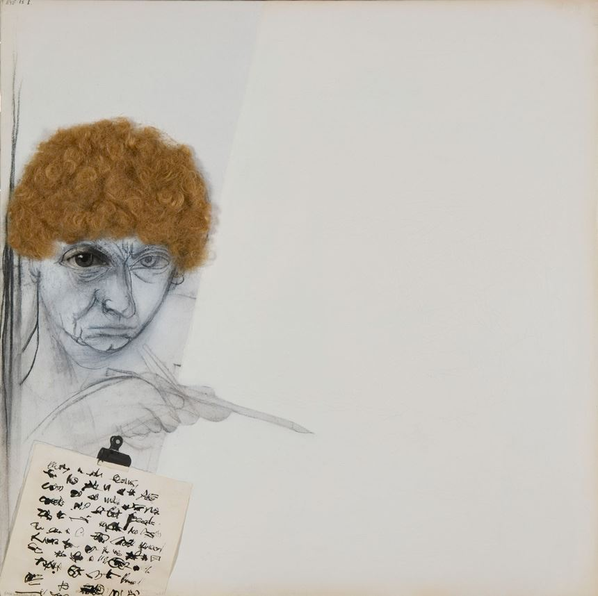 Brett WHITELEY 'Self portrait as Gertrude Stein' 1988 mixed media on canvas, 76.0 x 76.0 cm presented at the Lady Mayoress' Fundraising Dinner by Dr William Bowmore AO, OBE 2006 Newcastle Art Gallery collection
