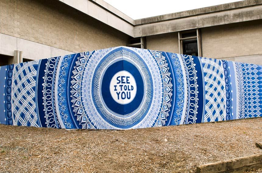 Lucas GROGAN 'Big Blue (see I told you)' 2014 acrylic on plywood, temporary installation at Newcastle Art Gallery