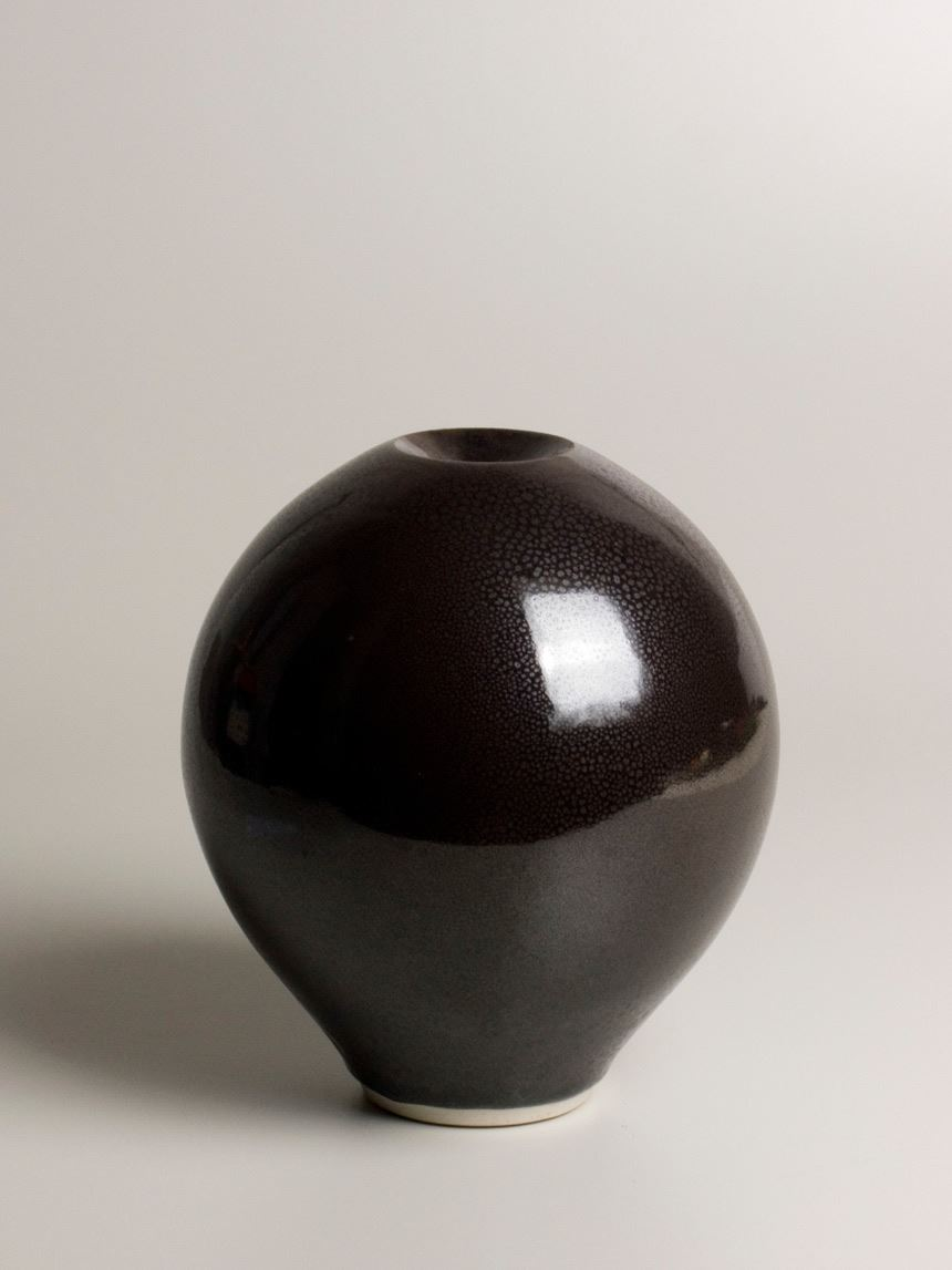 Shigeo SHIGA 'Black oil spot vase' 1975 Glazed stoneware 23.0 x 21.0 cm Gift of Professor Laurie and Elvie Short through the Australian Government's Cultural Gifts Program 2008 Newcastle Art Gallery collection