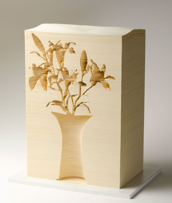 Kylie Stillman Lilies in vessel 2011 stacked paper carving Purchased by Newcastle Gallery Society 2011 Newcastle Art Gallery collection