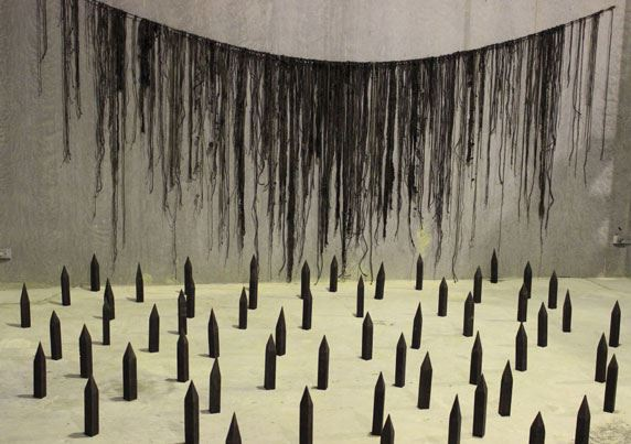 Brett McMAHON 'Flood fence and colony' 2014 studio installation mixed media Collection of the artist