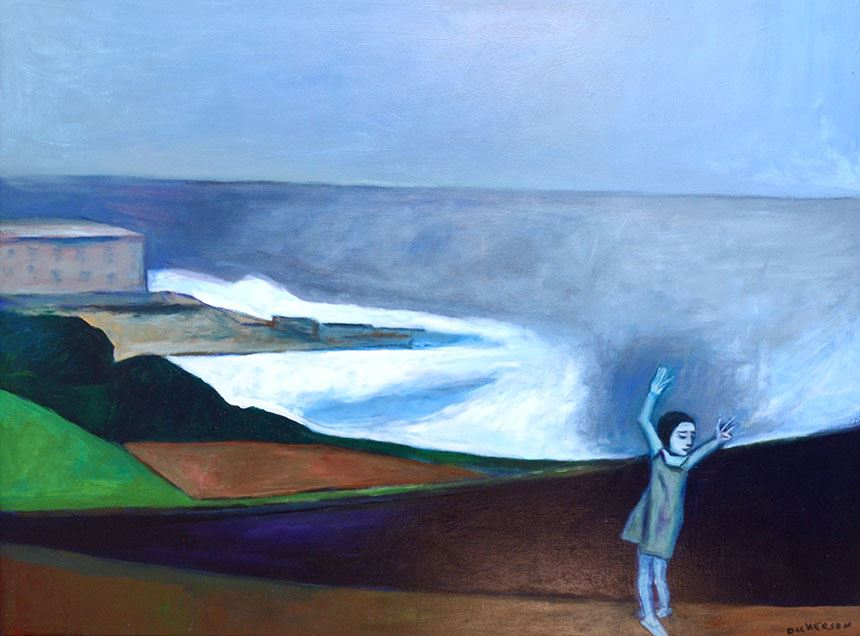 Robert DICKERSON Girl dancing on the beach (Merewether, Newcastle) 2003, acrylic on canvas, 122.0 x 92.0cm Donated through the Australian Government's Cultural Gifts Program 2018 Newcastle Art Gallery Collection Courtesy the artist's estate