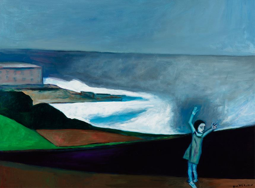 Robert DICKERSON Girl dancing on the beach (Merewether, Newcastle) 2003 acrylic on canvas 122.0 x 92.0cm Donated through the Australian Government's Cultural Gifts Program 2018 Newcastle Art Gallery Collection Courtesy the artist's estate
