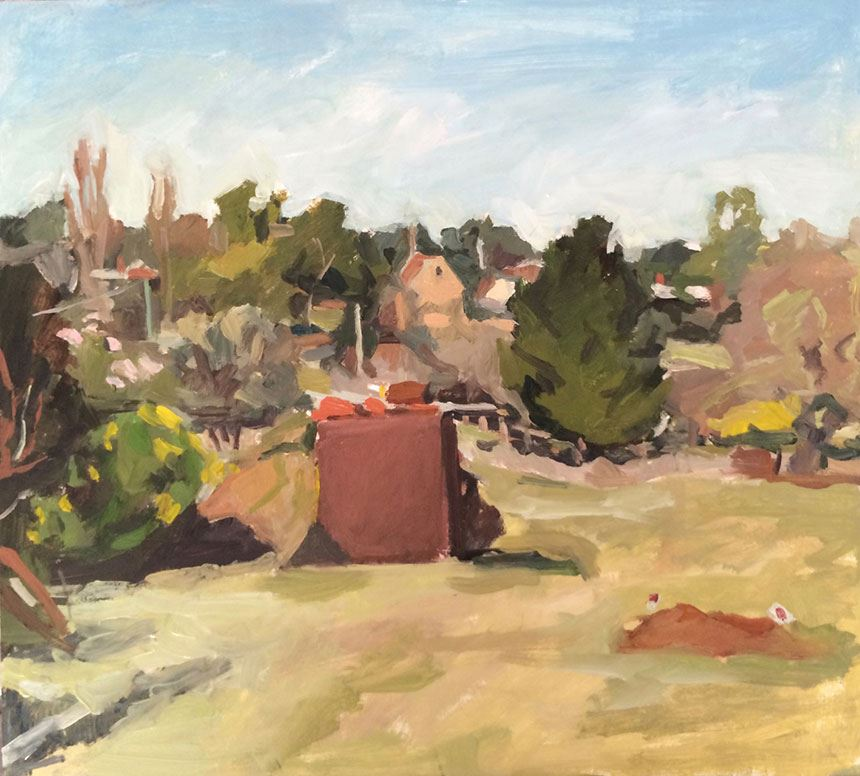 Rachel MILNE 'Red dog grave at Ackermann's cottage' 2016 oil on board 41.0 x 46.0cm Newcastle Art Gallery collection Courtesy the artist