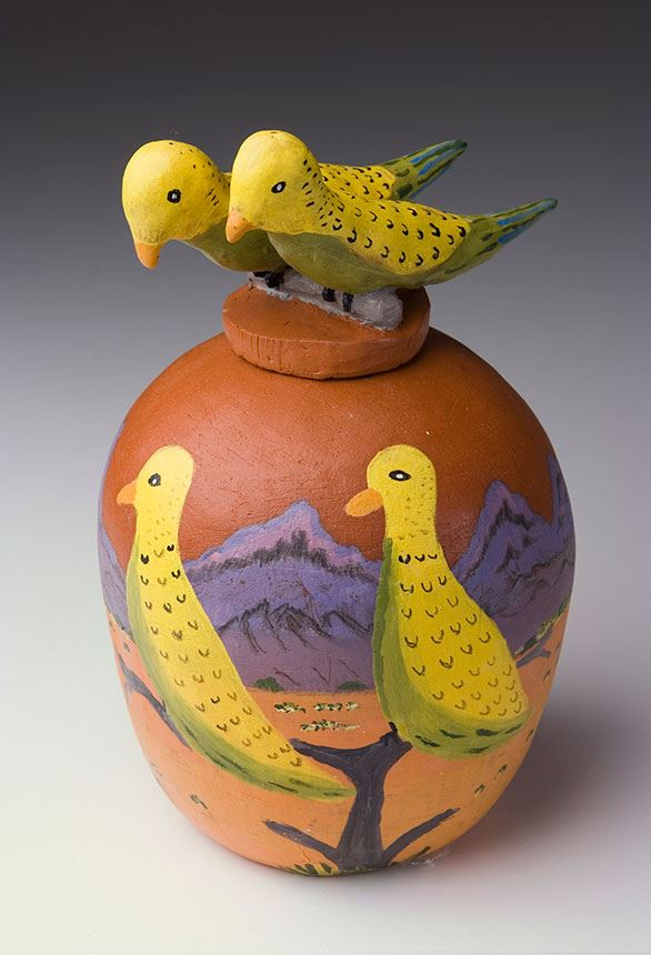 Dawn Ngala WHEELER Lyerrtjina- budgie family 2008 terracotta with underglazes 27.0 x 17.0cm Gift of James and Judy Hart 2009 Newcastle Art Gallery collection