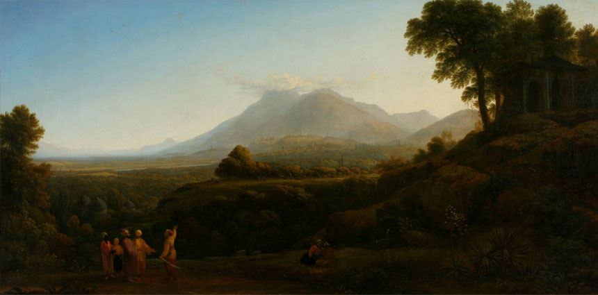 John GLOVER View of Mount Olympus and town of Brusa 1813 oil on canvas 89.0x 220.8cm Purchased with assistance from the Newcastle Morning Herald 1971 Newcastle Art Gallery collection