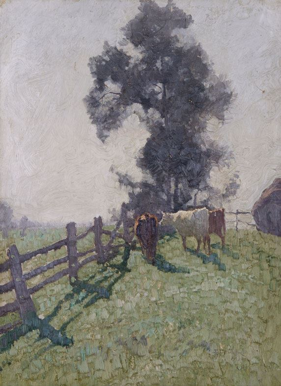 Elioth Gruner Spring morning 1917 oil on cardboard Gift of Dr Roland Pope 1945 Newcastle Art Gallery collection