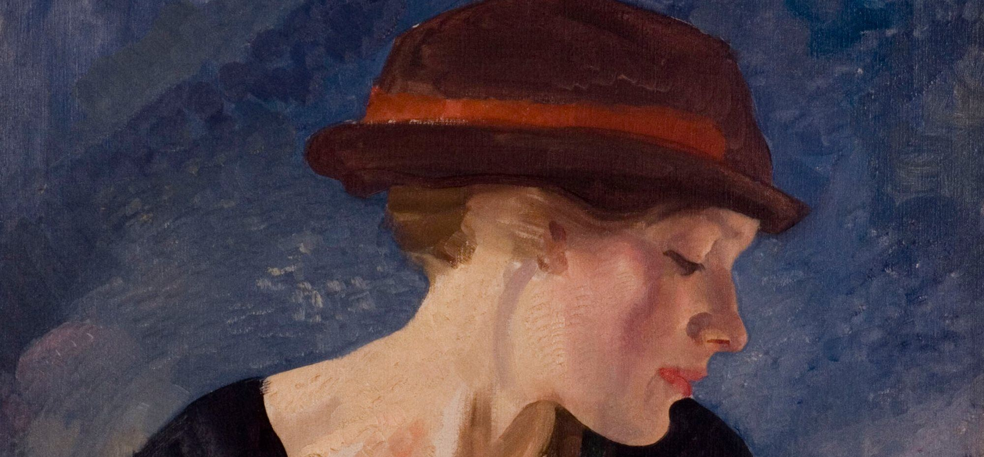 George W LAMBERT Portrait: red trimmed hat c1921 (detail) oil on canvas 74.2 x 62.1cm Gift of Mrs Maurice Lambert 1970 Newcastle Art Gallery collection