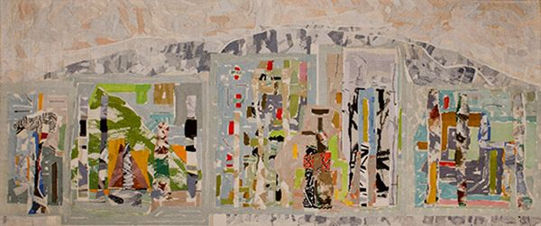 John Peart 'Figures and Grounds' 1988 130.0 x 302.0 seine twine no. 18, wool, cotton and linen tapestry Gift of Orica Limited through the Australian Government's Cultural Gifts Program 2014 Courtesy of the artist's estate