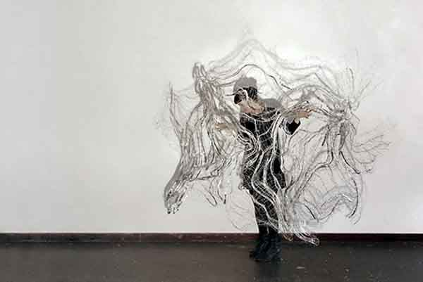 Hannah Quinlivan 'State of Suspension' (with artist) 2016 Steel, PVC, nylon, salt and shadow (2 km wire, 1.5 km nylon, 6.5 kg salt) Courtesy the artist