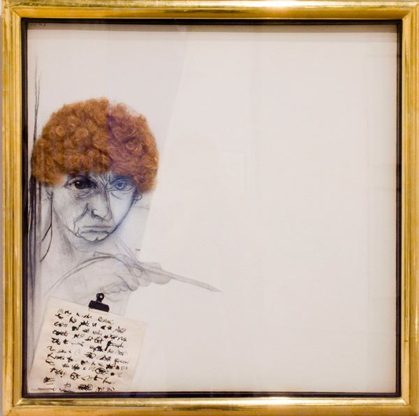 Brett WHITELEY Self portrait as Gertrude Stein 1988 mixed media on canvas 76.0 x 76.0cm Gift of Dr William Bowmore AO, OBE, Lady Mayoress' Fundraising Dinner 2006 Newcastle Art Gallery collection Courtesy Wendy Whiteley