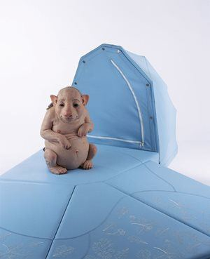 Patricia Piccinini 'Nature's little helpers - Surrogate (for the northern hairy nosed wombat)' 2004 silicon, polyurethane, leather, hair, wood Purchased by Newcastle Region Art Gallery Foundation 2006 Newcastle Art Gallery collection
