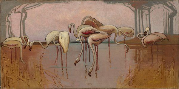 Sydney Long 'Flamingoes' 1907 oil on canvas National Gallery of Australia, Canberra, acquired with the assistance of the Masterpieces for the Nation Fund 2006 Reproduced with the kind permission of the Ophthalmic Research Institute of Australia