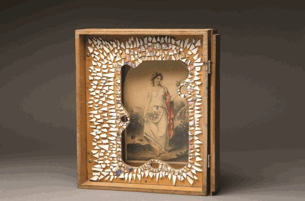 Rosalie Gascoigne Flora Galop 1976 found wooden cabinet, wood frame, shards of china and hand coloured engraving, glue and screws Purchased by Newcastle Art Gallery Foundation 2013 Newcastle Art Gallery collection