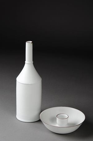 Kirsten Coehlo 'Bottle and candle holder' 2012 porcelain, matt glaze grey/white, banded iron oxide 27.7 x 8.9cm / 4.6 x 15.3cm Purchased 2013 Newcastle Art Gallery collection